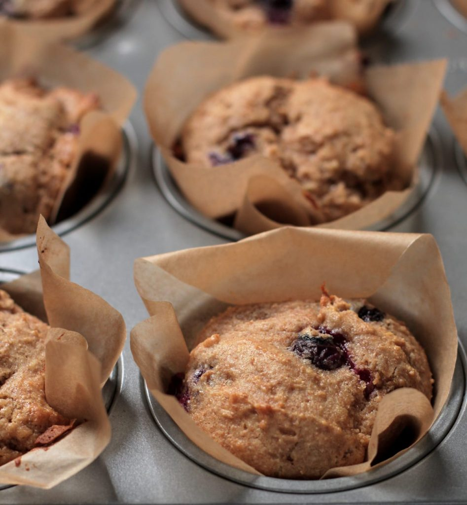 Homemade Whole Wheat Blueberry Muffins