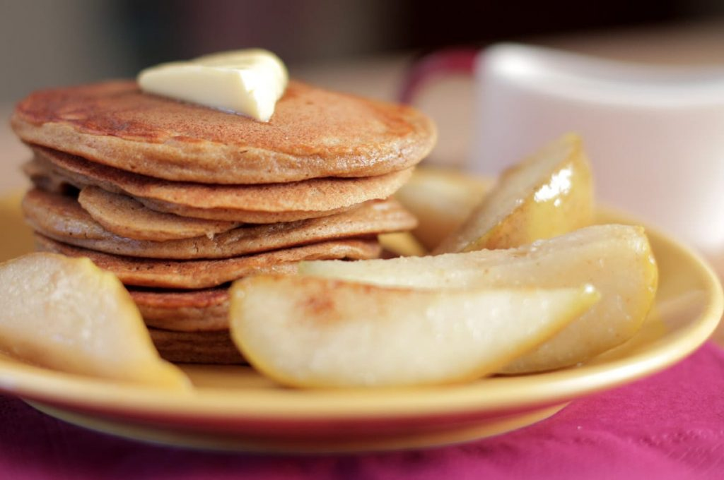 Gingerbread Pancakes with Sauteed Pears - Live Simply