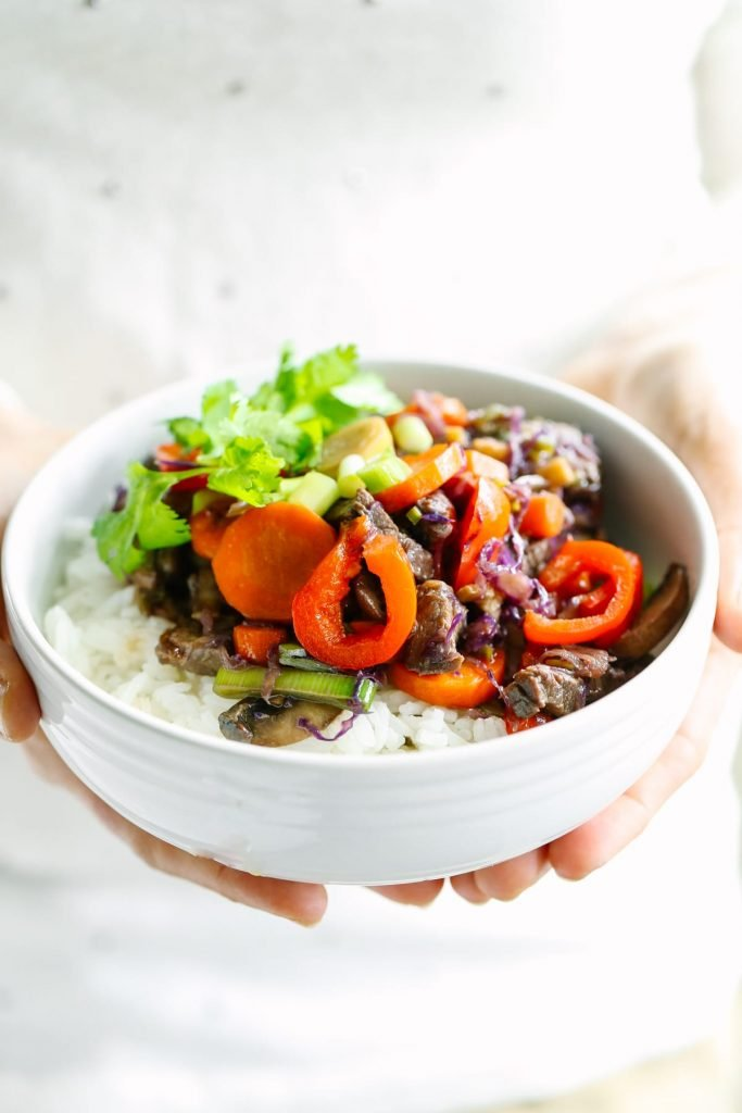 A classic, healthy stir-fry made with fresh veggies and beef. The veggie choices are unlimited, making this a truly frugal and nourishing meal, that can be made in just minutes.