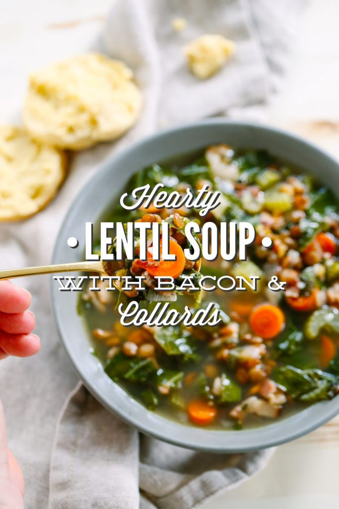 Made with bacon, hearty french lentils, and collard greens this soup is the perfect hearty, healthy, and warming dinner.