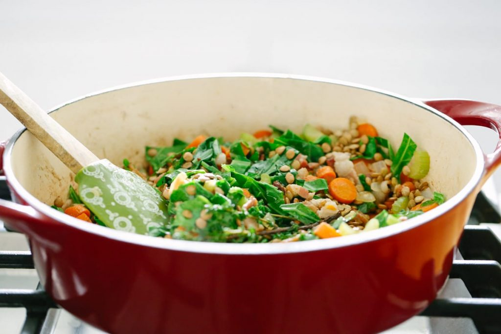 Hearty Lentil Soup with Bacon and Collards