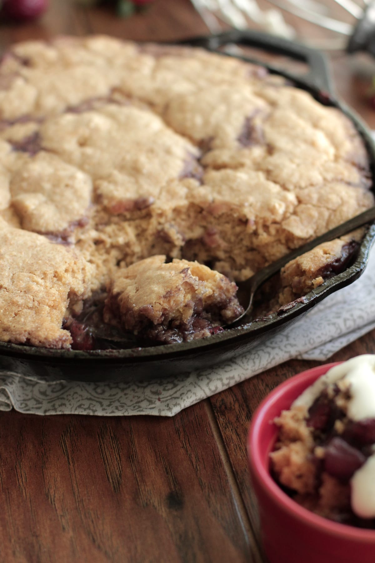 Strawberry Rhubarb Cobbler with Vanilla Whipped Cream - Live Simply