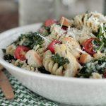 Tuscan Kale Caesar Pasta Salad