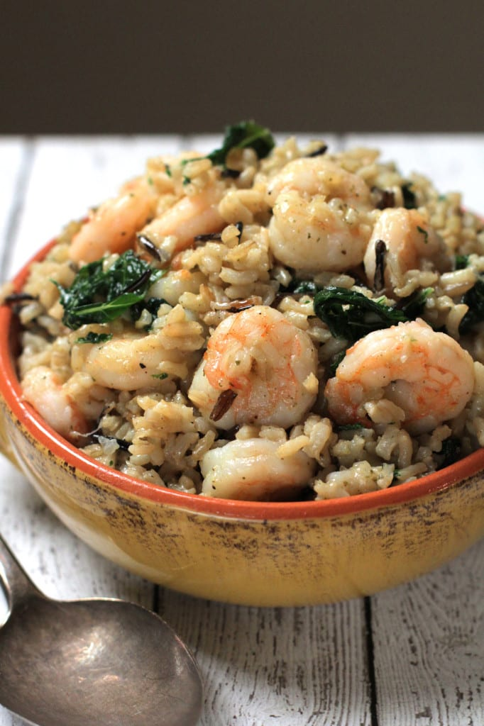 shrimp, kale, and rice melody