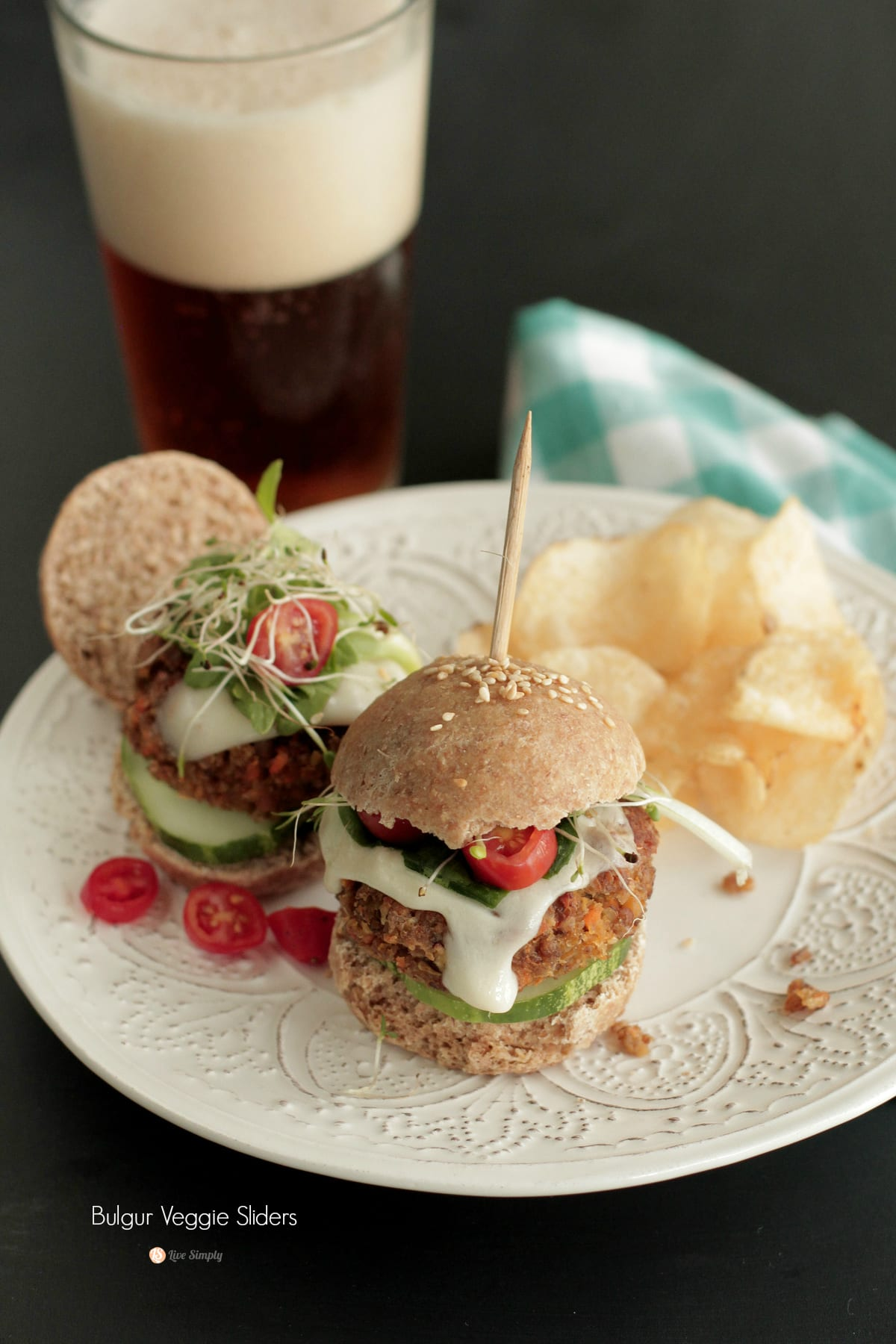 The BEST bulgur veggie burger sliders
