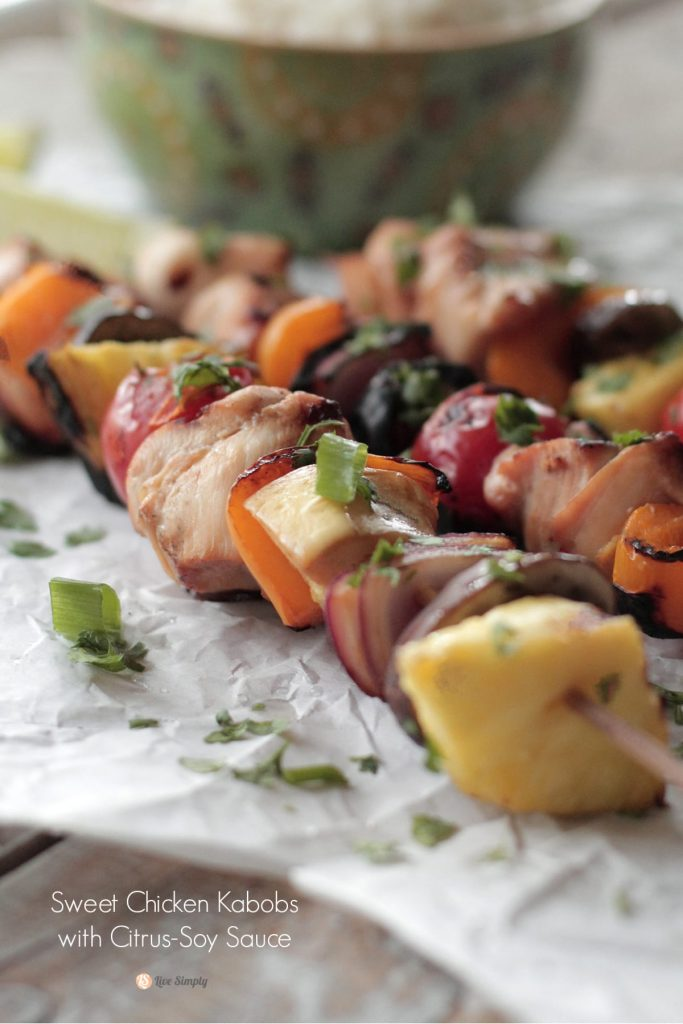 Sweet Chicken Habobs with Citrus Soy Marinade. Nothing says summer quite like a grilled meal of meat and veggies.