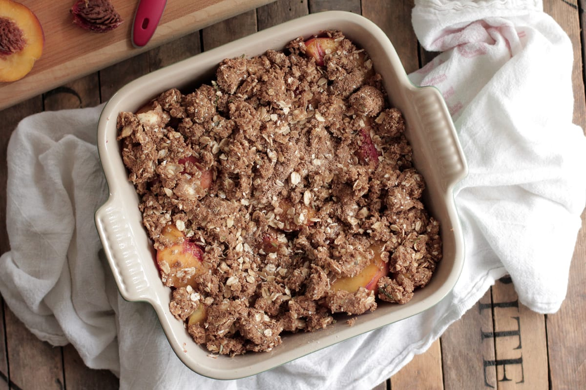 Simple Summer Peach Crisp. The ultimate summer dessert that takes less than ten minutes to prepare