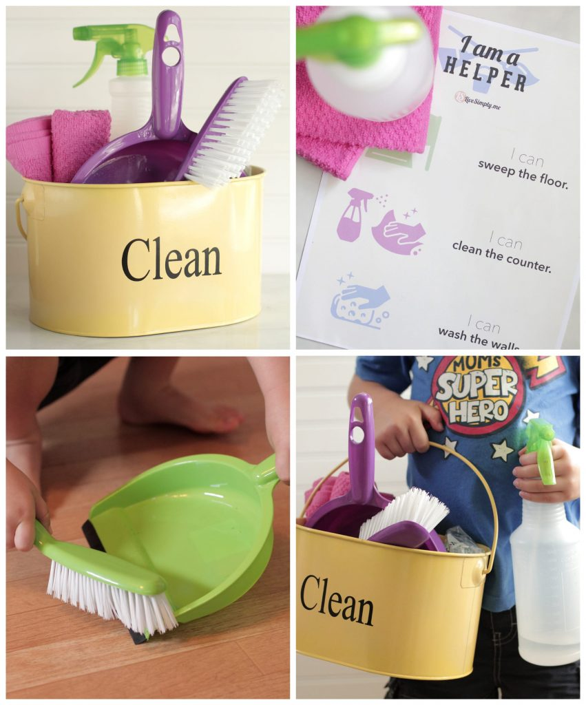 DIY Natural Kids' Cleaning Kit + Free Printable Chart - Live Simply