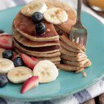whole grain banana pancakes in the blender