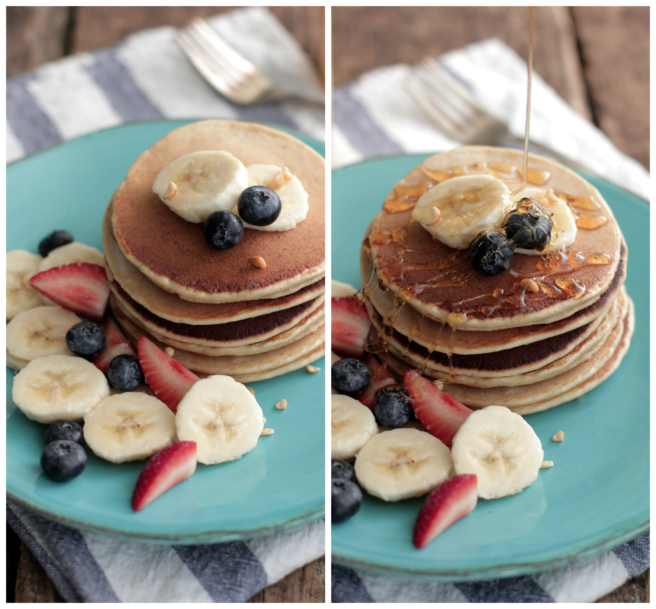 Freezer friendly whole grain banana pancakes in blender. These pancakes are not your average morning stack.