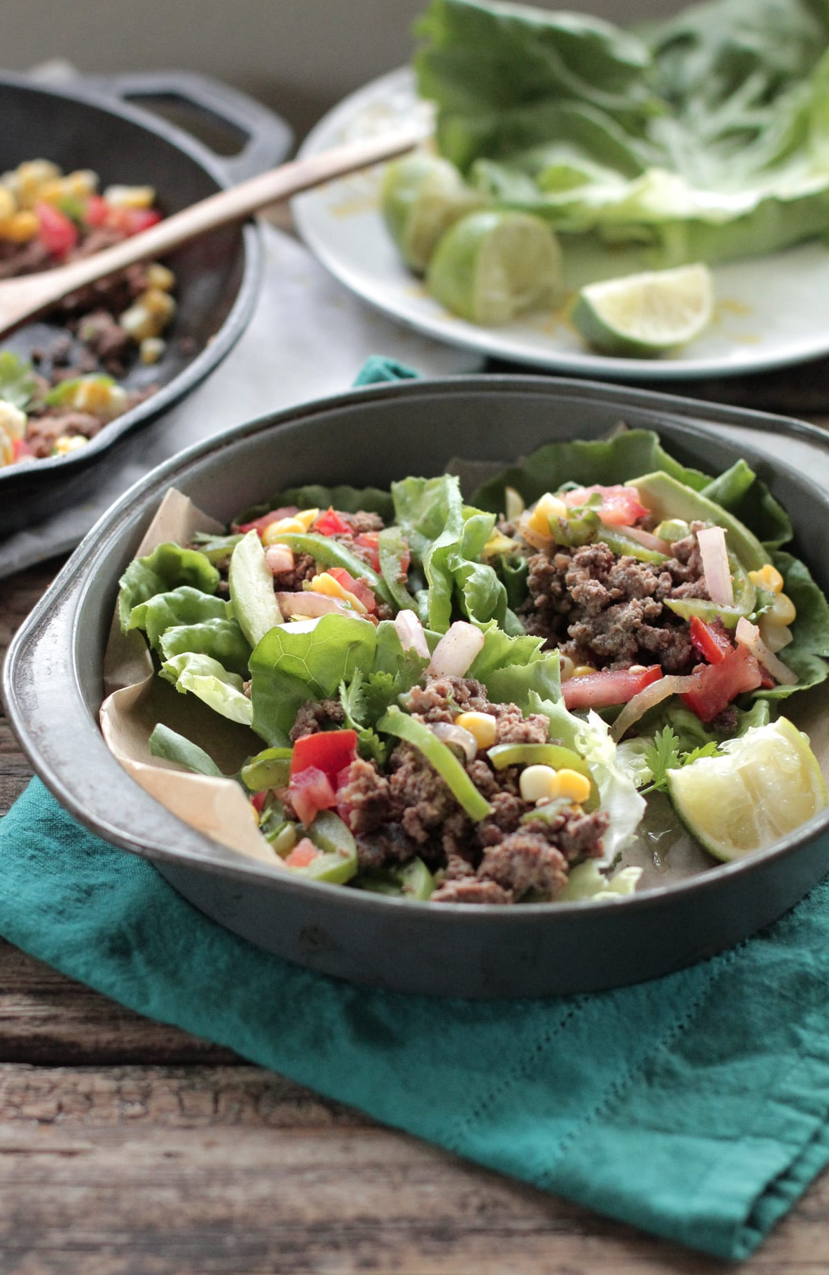 Healthy real food made simple and a kid favorite!! 20 Minute Meal: Beef and Veggie Taco Lettuce Cups