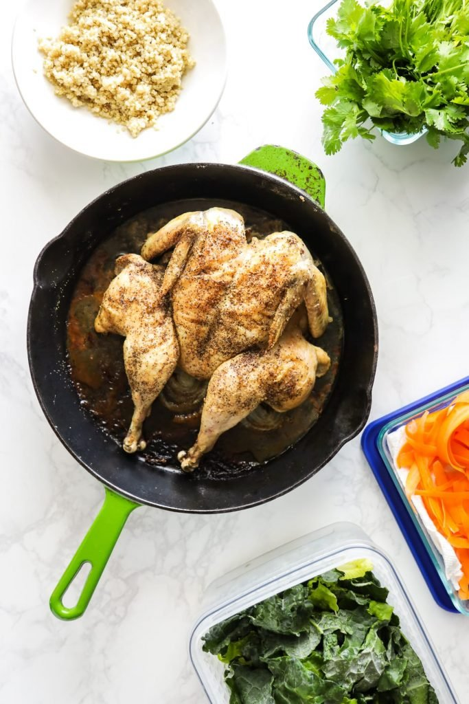 A whole chicken ready to shred and freeze for a future lunch