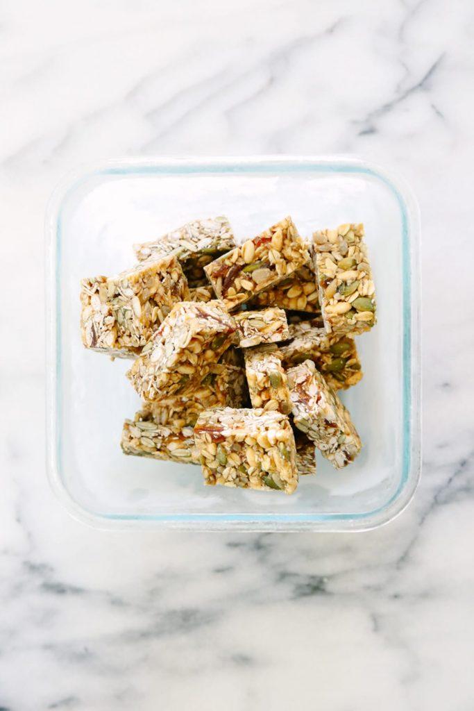Homemade granola bars in the freezer