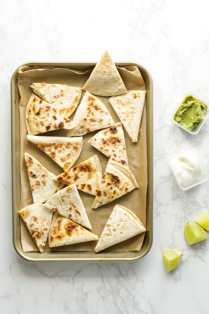Freezing quesadillas for a future lunch