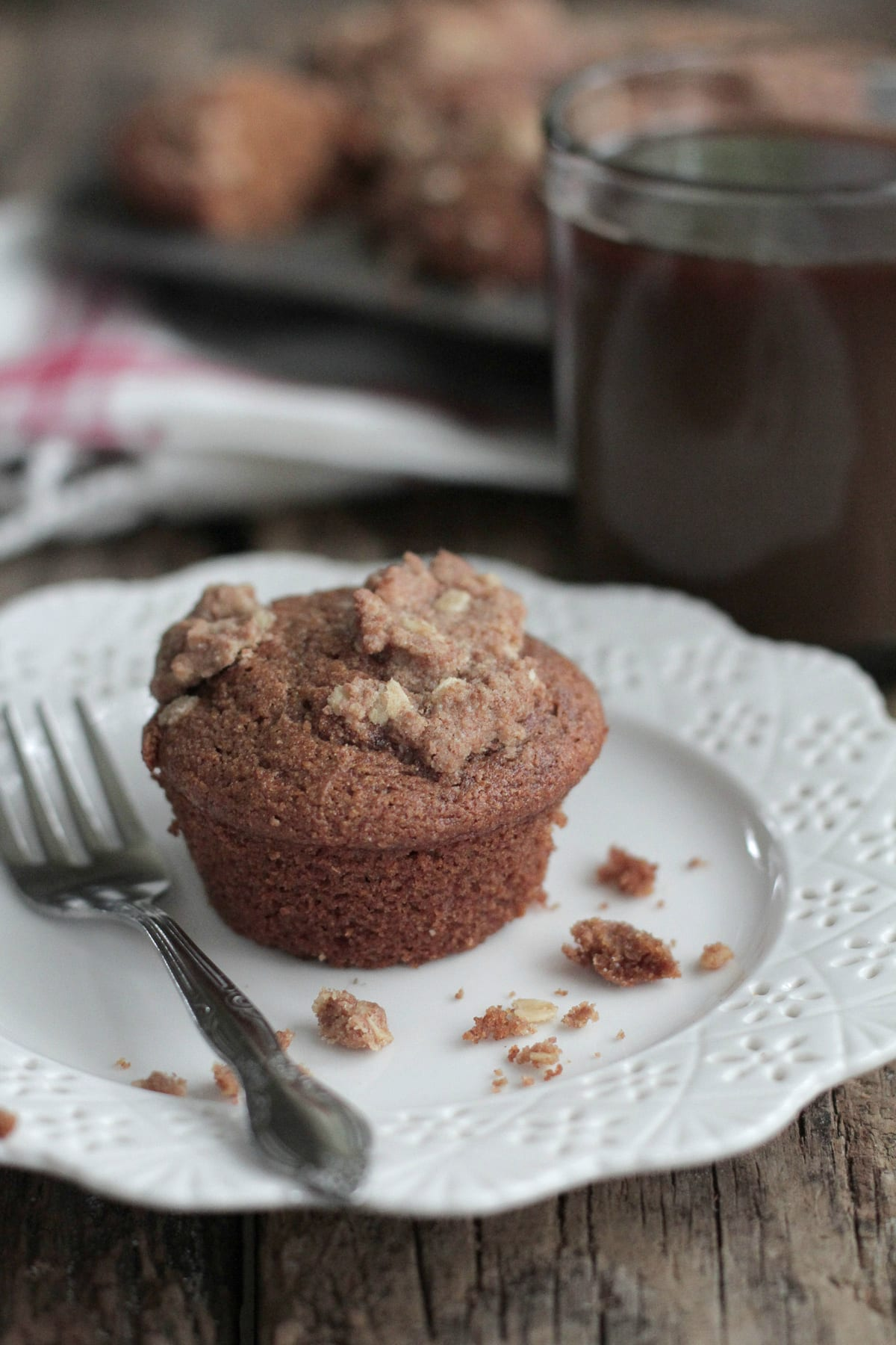 Whole grain pumpkin muffins with oat streusel