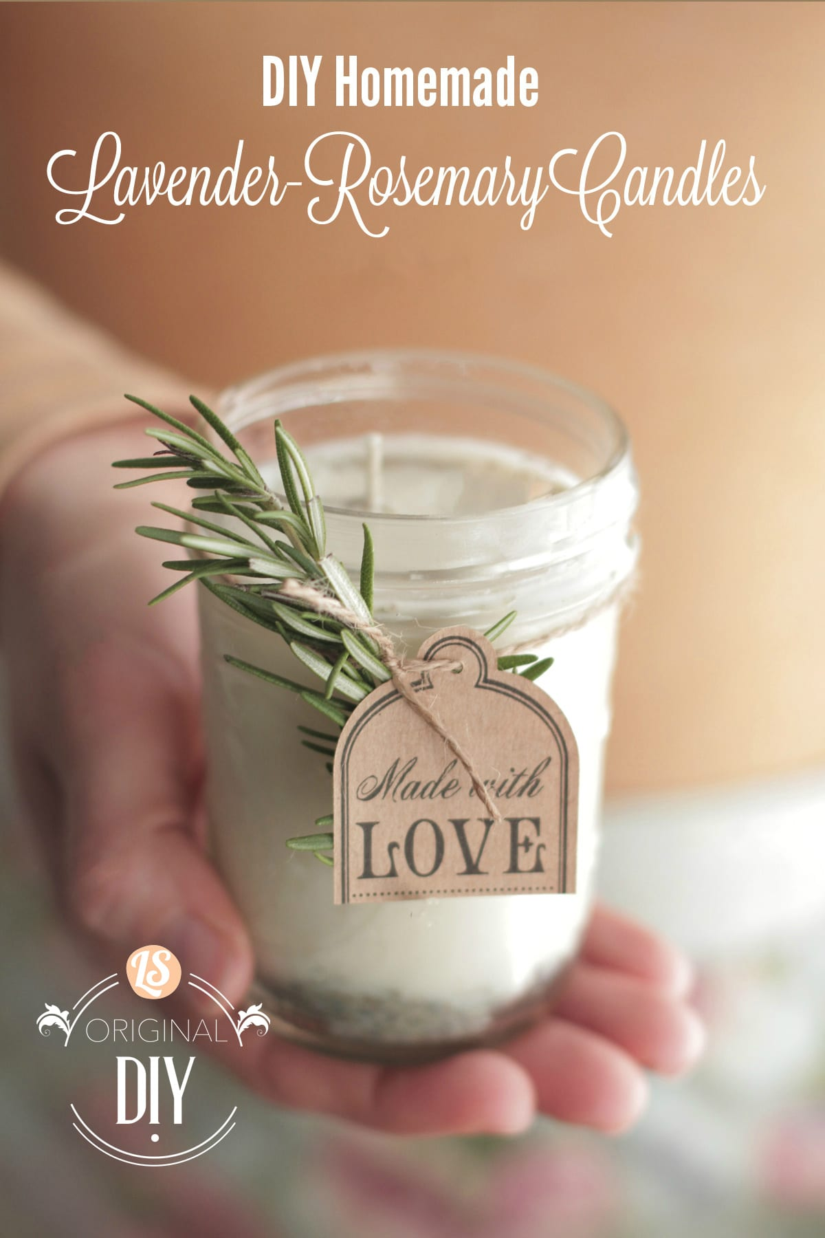 Diy Homemade Candles With Natural Lavender Rosemary Scent Live Simply