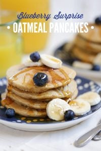 Blueberry Surprise Oatmeal Pancakes