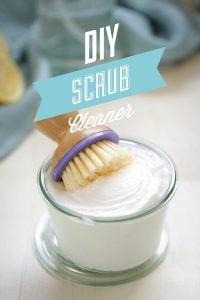 DIY Scrub Cleaner. Like soft scrub, but all natural and only uses three ingredients! Cleans your bathroom and kitchen!