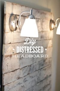 How to make an easy weekend DIY Distressed Header Board from salvaged wood pallets. Gorgeous, shabby-chic header board with step-by-step tutorial instructions and pictures!
