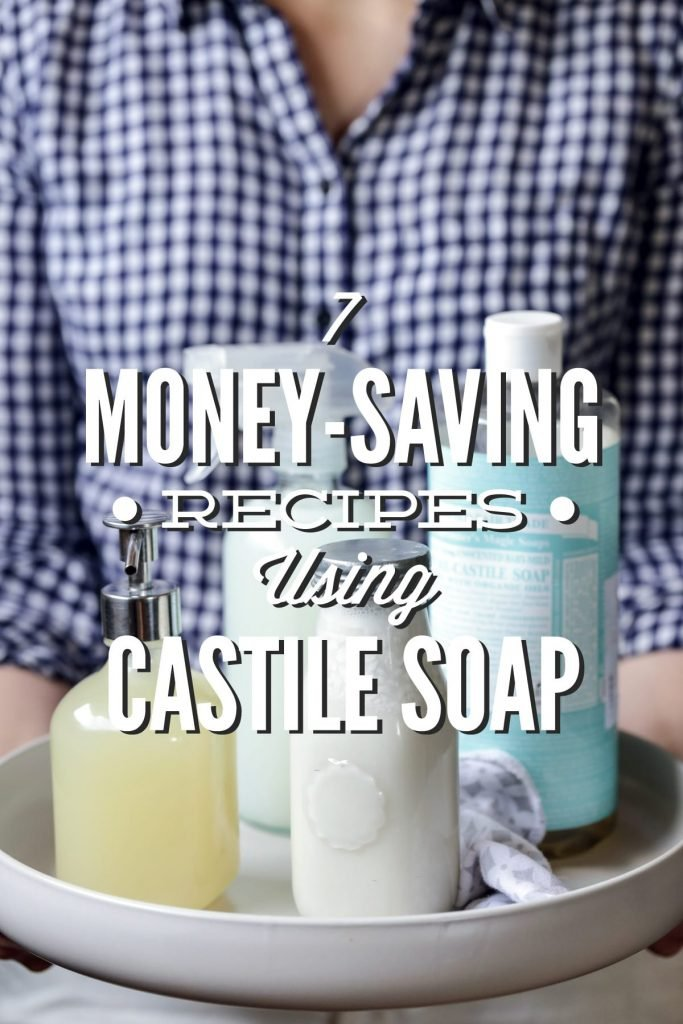 7 Money-Saving Recipes Using Castile Soap! So many amazing, natural uses for castile soap. I love the bathroom cleaner, face wash, and hand soap. So many more you can make with just one 32-ounce bottle of castile soap.