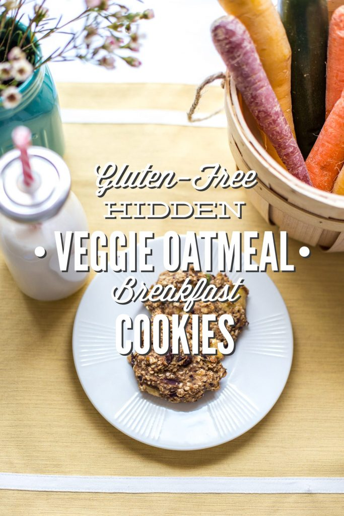 Gluten-Free Hidden Veggie Oatmeal Breakfast Cookies! These are a kid (and adult) favorite in our house. Plus, they are super easy to freeze for busy mornings. These cookies pack veggies, flax, and even a fun little treat!