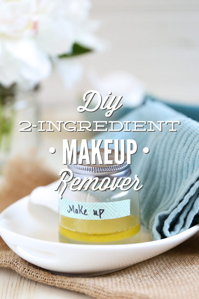 DIY Makeup Remover (without coconut oil). A simple two ingredient makeup remover that's gentle and effective. Costs just pennies to make one jar. No coconut oil in this recipe--just natural, simple and nourishing skincare ingredients.