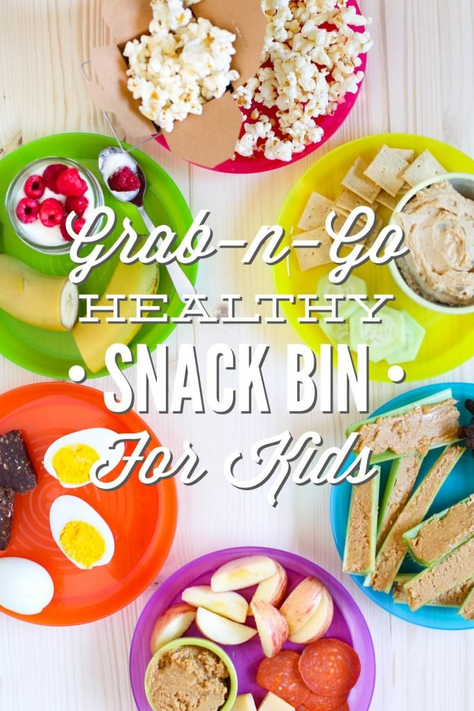 Grab-n-Go Healthy Snack Bin for Kids. Make sure to always have real food options available for your family with these healthy snack bin ideas!