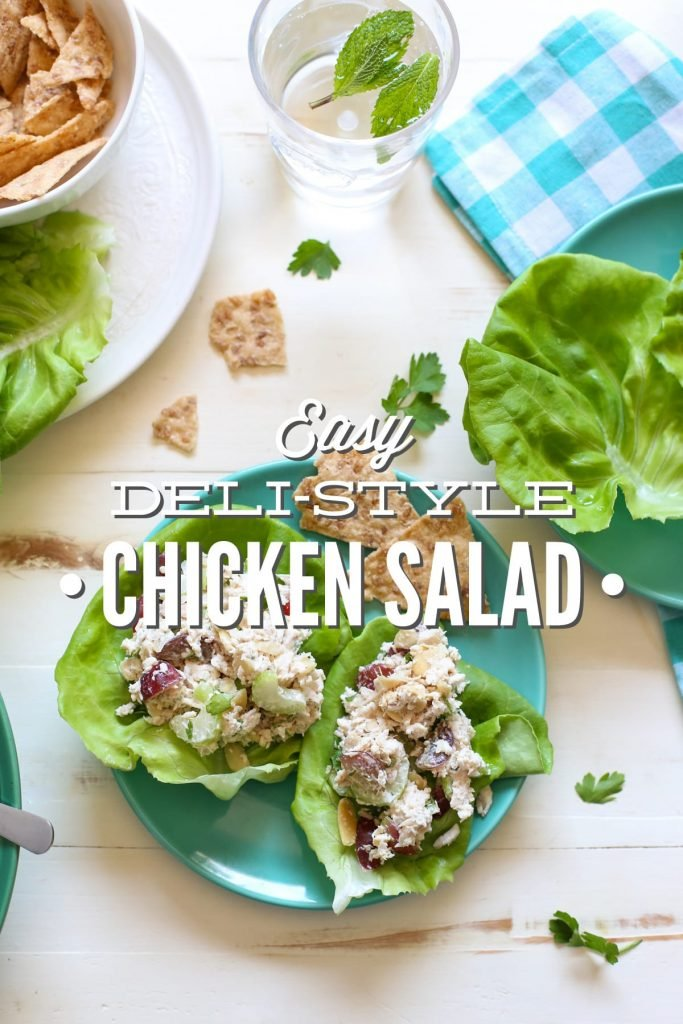 Super easy deli-style chicken salad! This recipe only requires 5 minutes of hands-on time. 100% healthy real food ingredients.