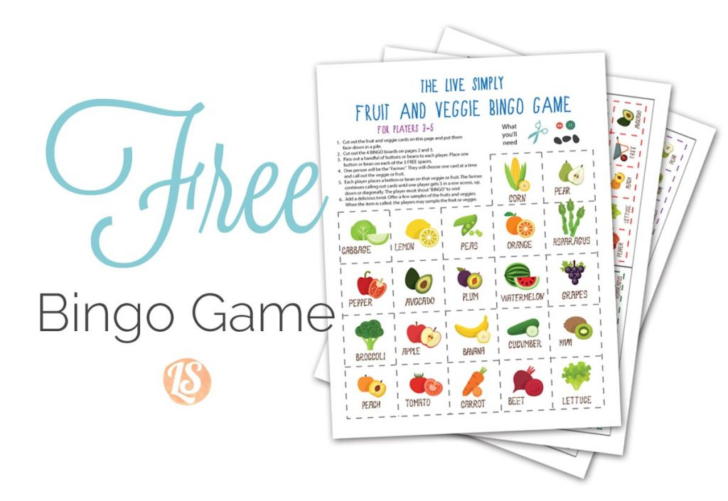 Get your kids to love veggies the live simply fruit and veggie teach your kids to love fruits and veggies with this free printable fruit and veggie bingo solutioingenieria Image collections