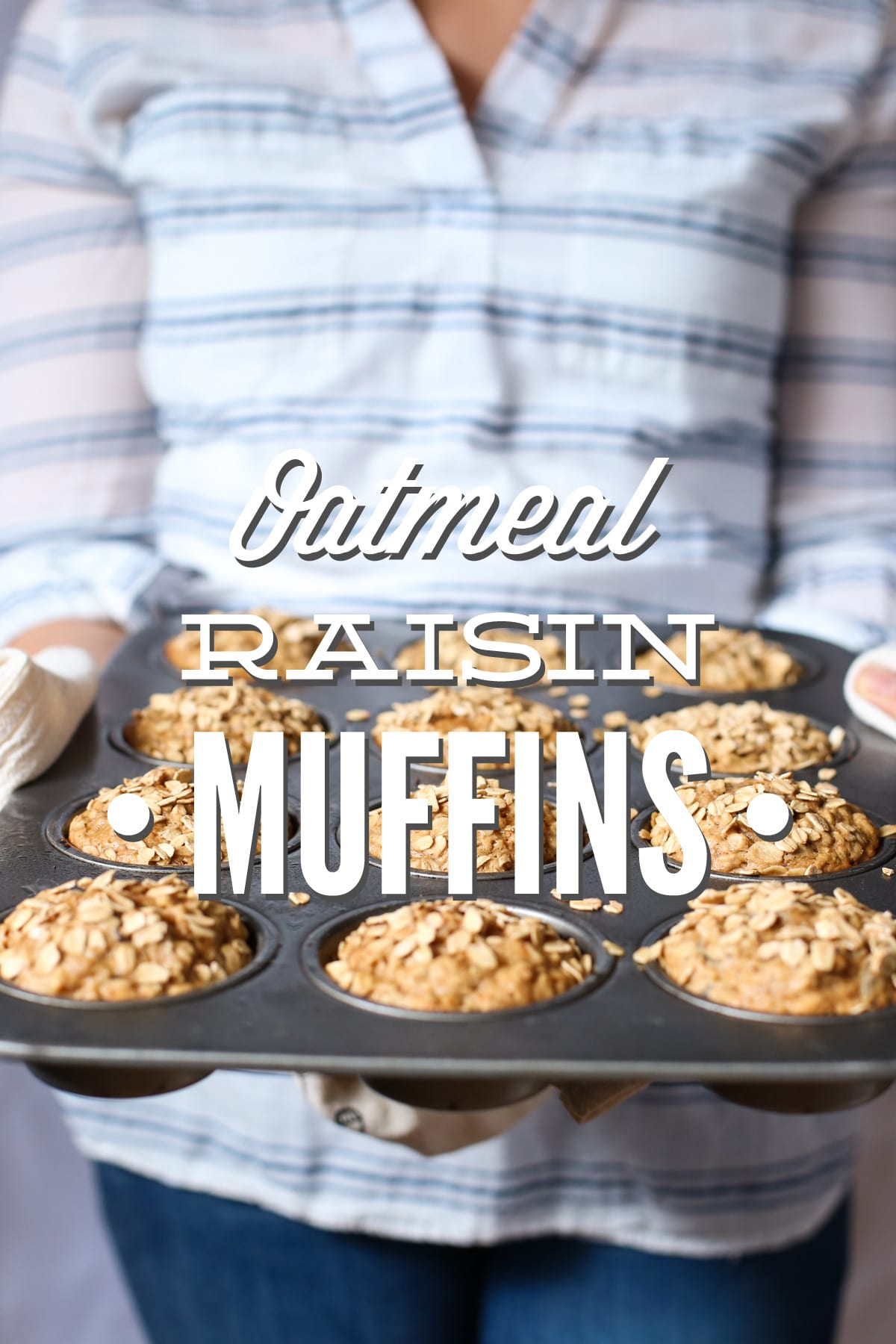 Whole grain oatmeal raisin muffins without refined sugar. These are so ...