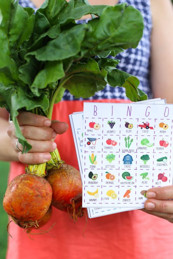 Teach your kids to love fruits and veggies with this free printable fruit and veggie bingo game!