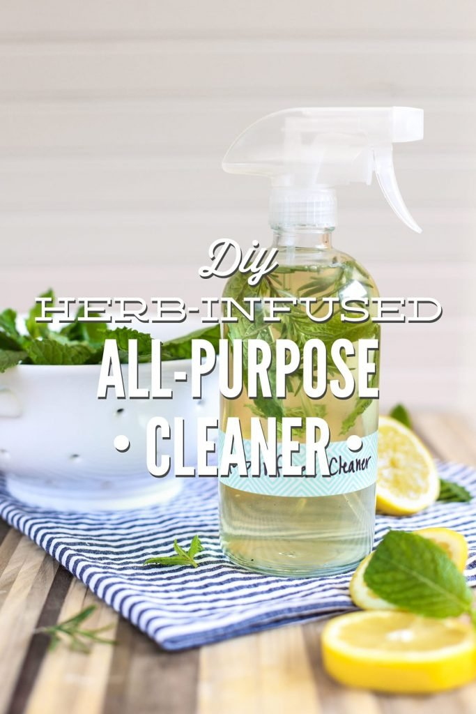 DIY homemade herb-infused cleaner! This all-purpose spray cleaner naturally cleans. No nasty ingredients! Super inexpensive.
