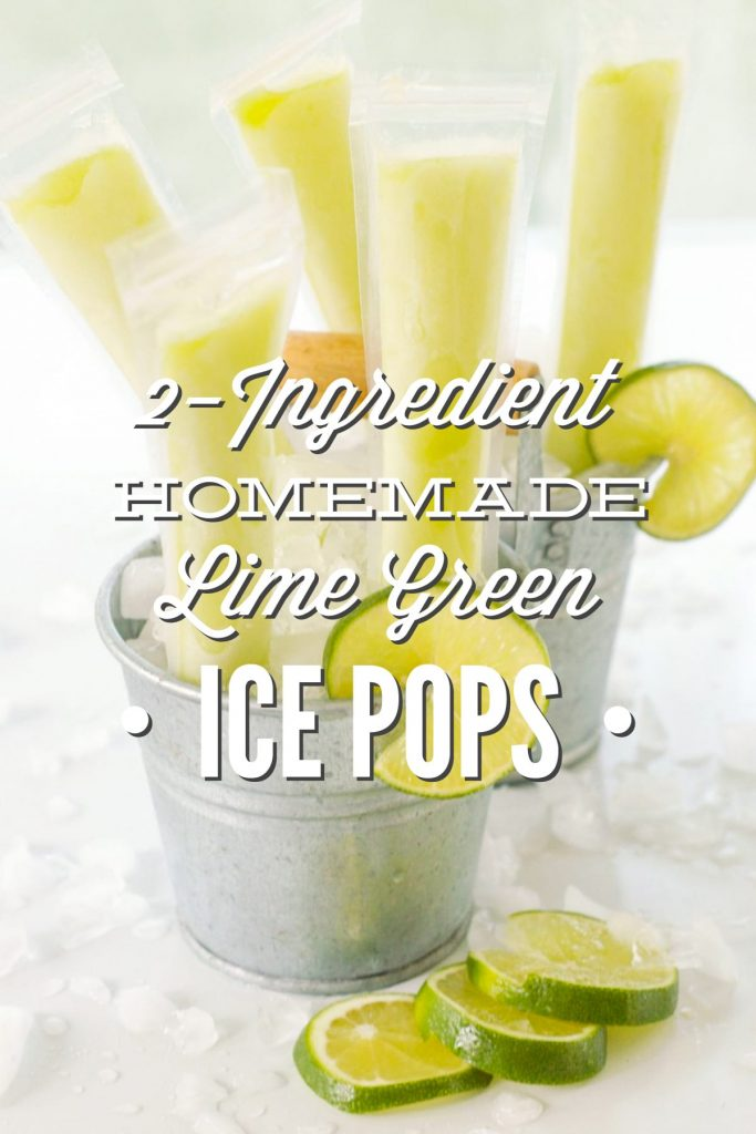 Homemade Lime Green Ice Pops: Real Food Style. No artificial dye or flavorings! Just TWO natural ingredients kids will love.