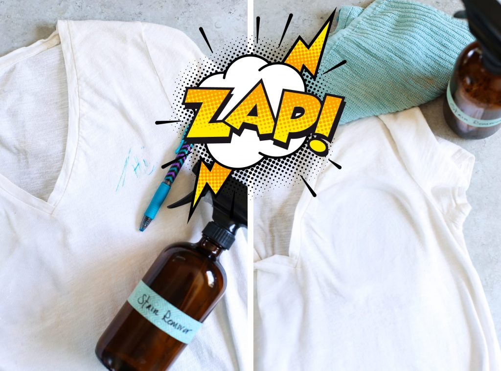 A powerful all-natural stain remover made with just four basic ingredients! DIY Homemade Stain Remover Spray. Gentle on clothes, tough on stains! AMAZING before and after photos, including: ketchup, carrot juice, and pen marks.