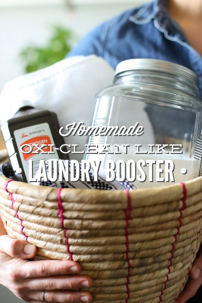 Homemade OxiClean Laundry Booster. Ditch the Oxi-Clean and get those whites white with this homemade oxygen bleach!