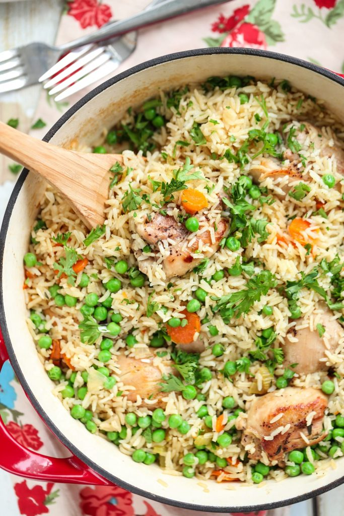 One-Pot Chicken, Rice, and Vegetables. Healthy, inexpensive, family-friendly, and one-pot!! This one-pot real food meal is a family favorite. No cans or processed ingredients.