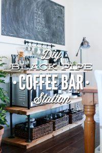 DIY Black Pipe Coffee Bar Station