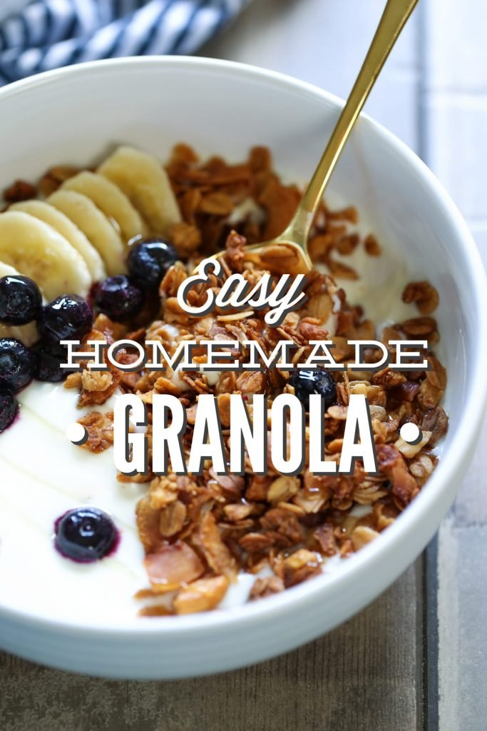 Easy Homemade Granola Recipe. Delicious over ice cream, yogurt or even all by itself! So simple to mix up and throw in the oven.