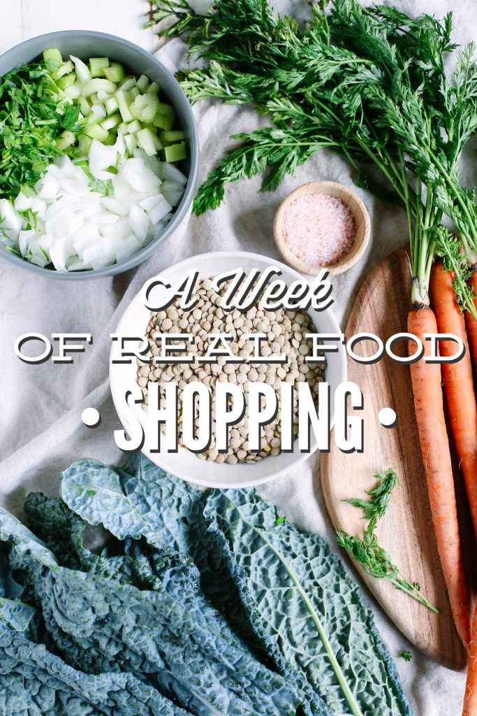Shopping for real food: A real life example of what shopping for real food looks like each week. This is totally doable!! Plus, printable lists for ten different stores.