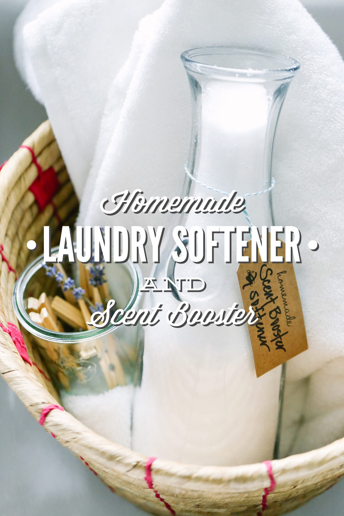 A two-ingredient, homemade fabric softener and scent booster. This stuff is super