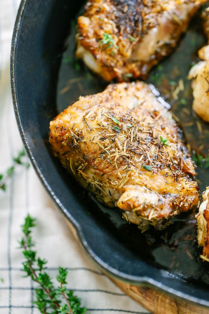 Crispy Herb-Roasted Chicken Thighs! Sooo good and so easy! I make these for dinner at least once week.