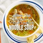 Chicken and Vegetable Noodle Soup: A gluten-free and kid-friendly chicken noodle soup made with homemade veggie noodles!
