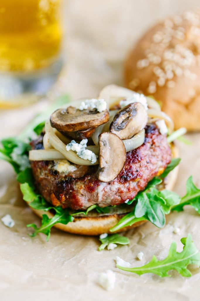 These are served weekly in our home! Real food style burgers with blue cheese, mushrooms, and onions. Soooo good! With a hint of chipotle. My family raves about this meal every single time I make it. So easy, too!