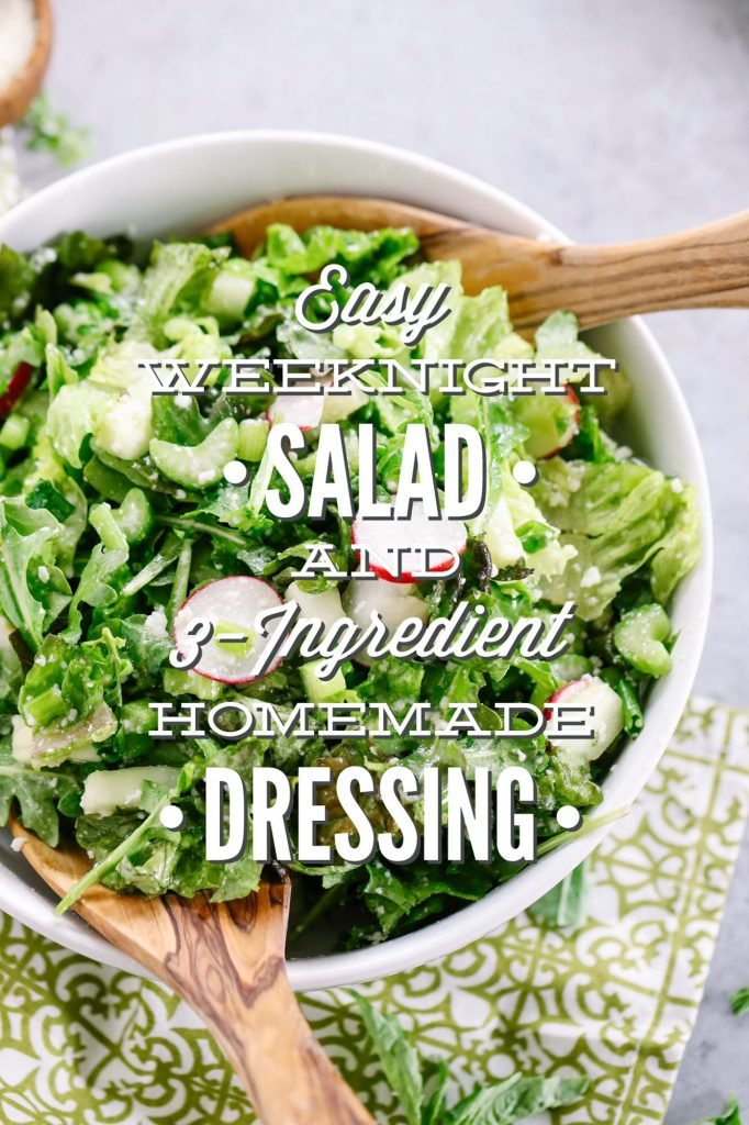 Easy Weeknight Salad with 3 Ingredient Homemade Dressing. So good! I serve this salad at least three times a week with dinner. Super inexpensive and takes less than 10 minutes to make everything, including the healthy dressing. Plus, tips for serving this salad to kids.