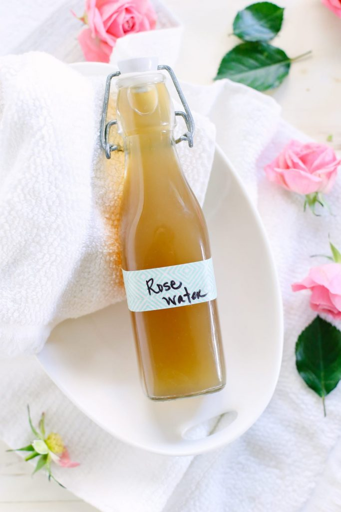How to make rosewater and rosewater facial toner. This homemade skin toner is so easy to make at home! Soothing and refreshing for the skin.
