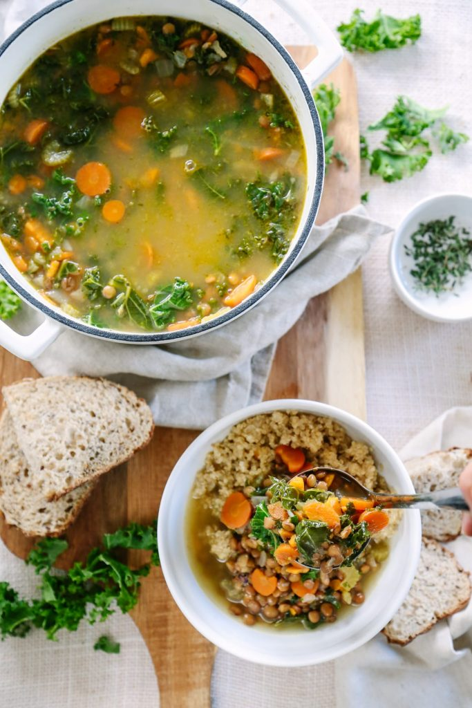 A super easy and hearty vegetarian lentil soup that's made in 30 minutes. This packs so many nutrients and tastes amazing!