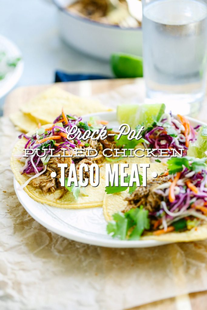 Crockpot Pulled Chicken Taco Meat. A super simple no fuss meal that's packed with flavor! No fancy ingredients or complicated steps.