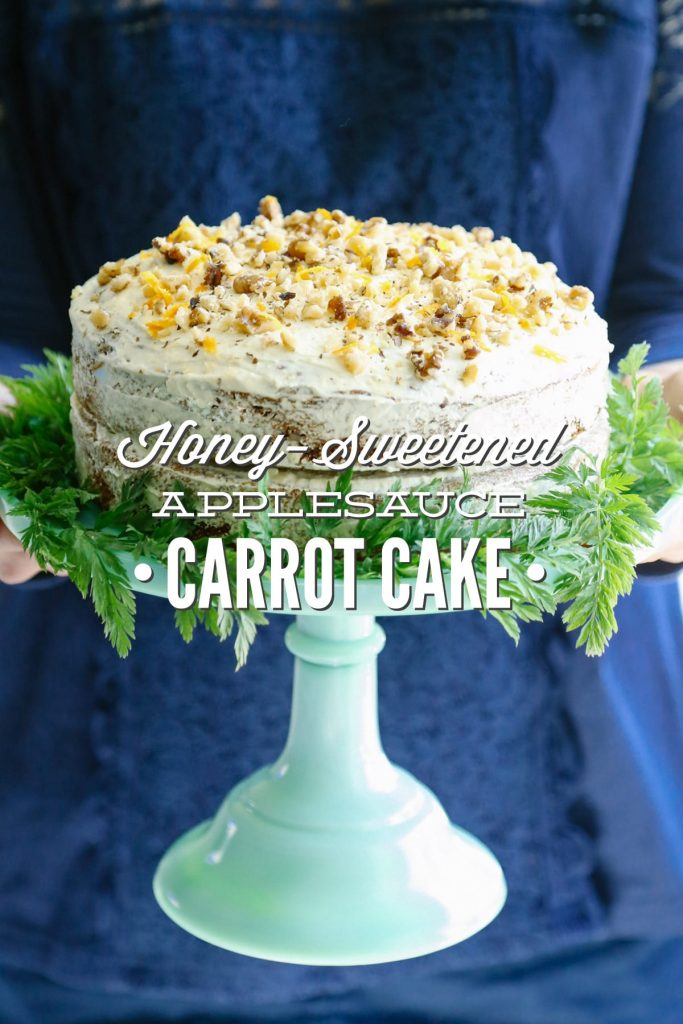 This Honey-Sweetened Applesauce Carrot Cake is made with natural sweeteners: honey, applesauce, and freshly-grated carrots. Seriously, it's soooo good!