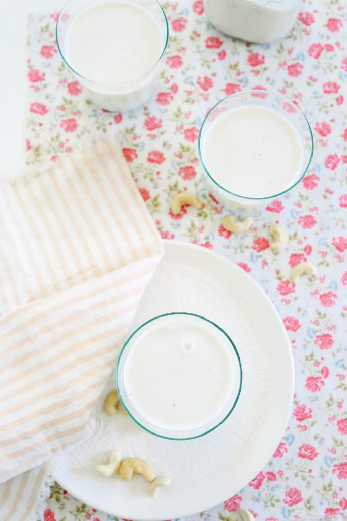 It's super easy to make your own creamy cashew milk! No soaking necessary. It's the perfect substitute for coffee creamer!
