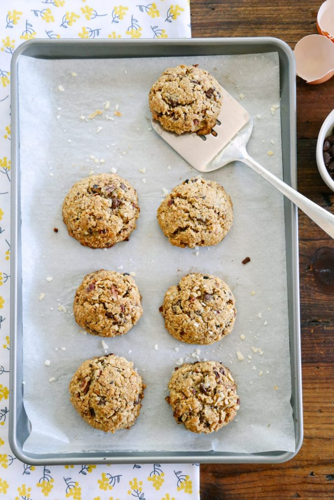 Oatmeal-Coconut Chocolate Chip Cookies. Made with real ingredients! So good.